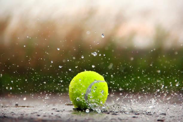 Tennis ball in the Rain